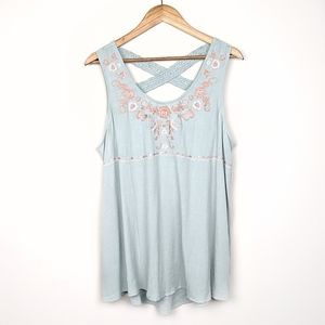 Knox Rose | Boho Embroidered Flowy Tank Teal XXL